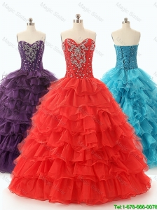 Beautiful 2016 Discount Ball Gown Sweet 16 Dresses with Ruffled Layers