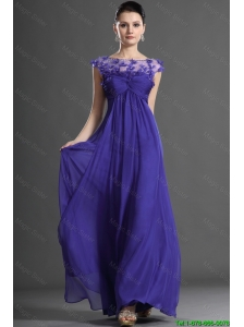 Luxurious Bateau Beading Prom Dress in Royal Blue for 2016