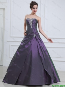 2016 Luxurious Princess Purple Prom Dresses with Beading