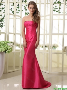 2016 Modest Mermaid Strapless Prom Dresses with Brush Train
