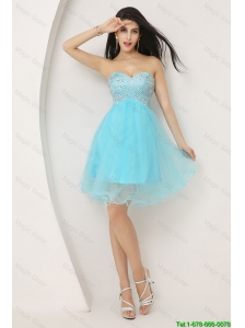 Beautiful Beaded Sweetheart Short Prom Gowns in Aqua Blue 2016