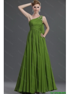 Classical  A Line One Shoulder Prom Dresses with Watteau Train