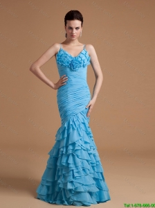 Exquisite Mermaid Ruffles Prom Gowns with Hand Made Flowers