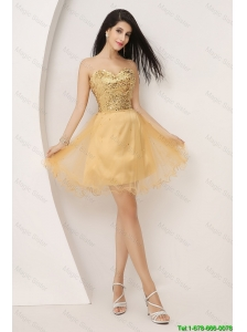 Luxurious A Line Gold Sweetheart Prom Gowns with Lace Up 2016