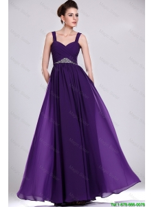 Perfect Straps Purple Prom Gowns with Ruching and Beading
