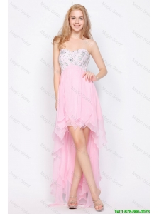 Popular Empire Sweetheart High Low Prom Dresses with Beading