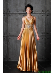 Popular Empire V Neck Prom Dresses with Beading