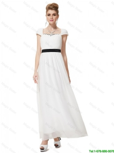Pretty Empire Square Ankle Length White Prom Dresses with Sashes
