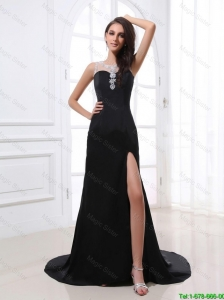 Romantic Column Scoop Beading and Sequins Prom Dresses with High Slit