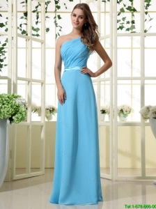 Wonderful One Shoulder Belt and Ruffles Aqua Blue Long Prom Dresses