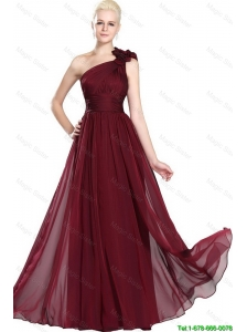 Beautiful Ruched Burgundy Prom Gowns with One Shoulder