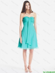 Classical Ruched Short Prom Dresses in Turquoise