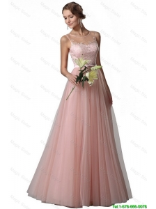 Fashionable Appliques Empire Bateau Prom Gowns in Tulle