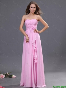 Junior Ruching and Hand Made Flower Prom Dress in Rose Pink