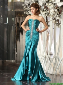 Luxurious Mermaid Brush Train Beaded Prom Dresses in Teal