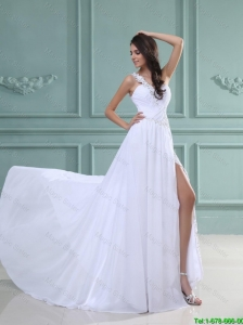 New Arrivals White Brush Train Prom Dresses with High Slit