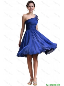 New Style One Shoulder Short Prom Dresses in Royal Blue