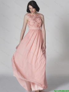 New Style Scoop Pink Prom Dresses in Lace