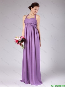 Perfect Halter Top Ruched Prom Gowns with Brush Train