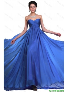 Perfect Sweetheart Ruched Blue Prom Dresses with Brush Train 2016