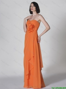 Popular Sweetheart Hand Made Flowers Prom Dresses in Orange 2016