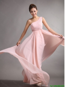 Pretty Empire One Shoulder Prom Gowns with Belt and Ruching