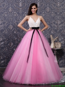Pretty Multi Color Prom Dresses with Sashes and Sequins for 2016