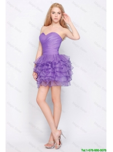 Pretty Sweetheart Lavender Short Prom Dresses with Ruffled Layers 2016