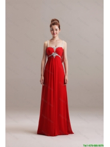 Romantic Spaghetti Straps Red Long Prom Dresses with Beading for 2016