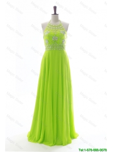 Cheap Brand New Halter Top Spring Green Long Prom Dresses with Beading
