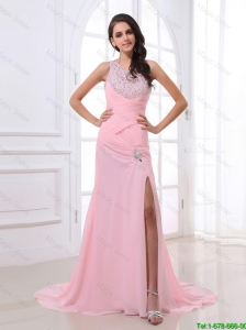 Junior Column Brush Train Prom Dresses with High Slit and Beading