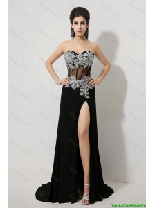 Modest Beaded and High Slit Prom Dresses in Black