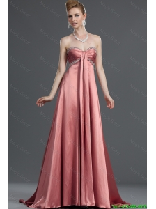 Modest Beading Elastic Woven Satin Prom Dresses with Brush Train