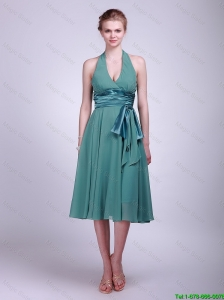 Modest Halter Top Short Turquoise Prom Dresses with Ribbons