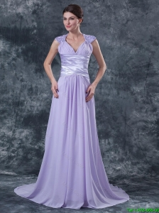 2015 Pretty Empire V Neck Prom Dresses with Beading in Lavender