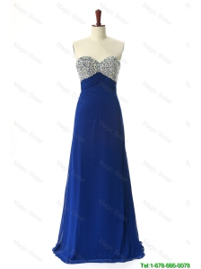 Cheap Perfect 2016 Beading Sweep Train Prom Dresses in Royal Blue