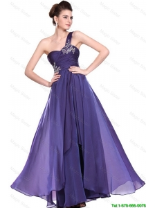 New Arrivals One Shoulder Purple Prom Dresses with Beading