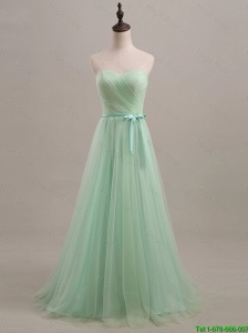 Pretty Exquisite 2016 Summer Apple Green Prom Dresses with Sweep Train