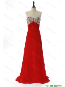 Pretty Exquisite 2016 Winter Beading Red Prom Dresses with Sweep Train