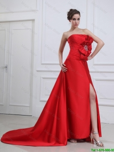 Exquisite Straples Beading and Bowknot Red Prom Dresses with Brush Train
