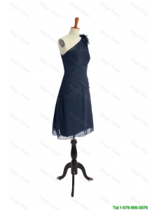 Cheap Brand New One Shoulder Hand Made Flowers Short Navy Blue Prom Dresses