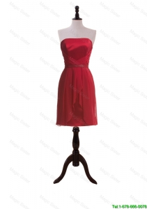 Cheap New Style Short Wine Red Prom Dresses with Ruching