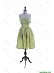 Cheap Exclusive Yellow Green Short Prom Dress with Ruching and Belt