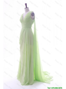 Wonderful Watteau Train Yellow Green Prom Dresses with Ruching and Pleats