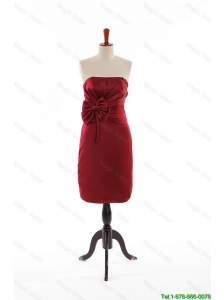 Cheap Modest Bowknot Short Prom Dresses in Wine Red