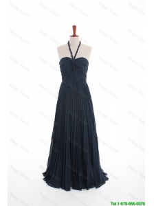 Cheap New Style Navy Blue Long Prom Dresses with Pleats for 2016