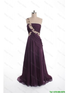 Pretty Brand New Appliques Sweep Train Purple Prom Dresses with One Shoulder