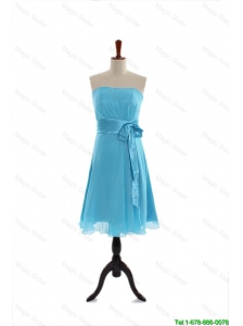 Pretty Discount Belt and Bowknot Short Prom Dress in Aqua Blue for 2016