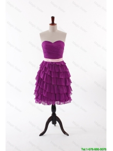 Pretty Discount Short Prom Dresses with Bowknot and Ruffled Layers