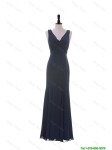 Beautiful Cheap V Neck Navy Blue Prom Dresses for Graduation